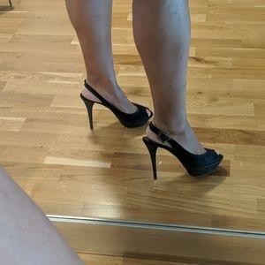 CLAUDIA CIUTI black open toe slingback heels